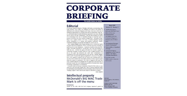 Corporate Briefing article feature: W Nagel (a Firm) v Pluczenik Diamond Company NV [2018] EWCA Civ 2640 29 November 2018