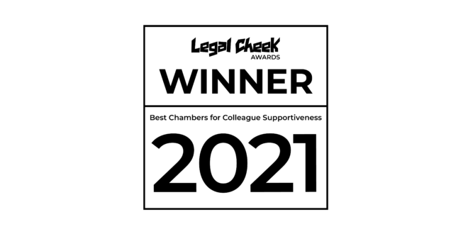 Hardwicke wins Best Chambers for Colleague Supportiveness at the Legal Cheek Awards 2021
